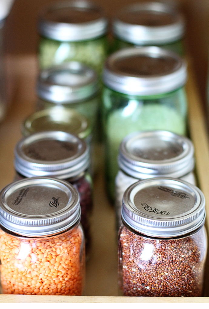 whole grains in mason jars in the pantry