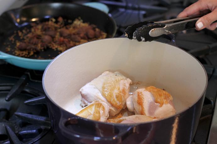 Sauteing chicken in a dutch oven