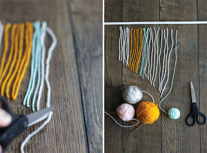 yarn being cut into different lengths