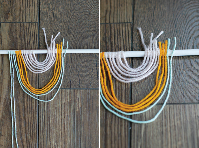 yarn tied up into looped pattern on rod