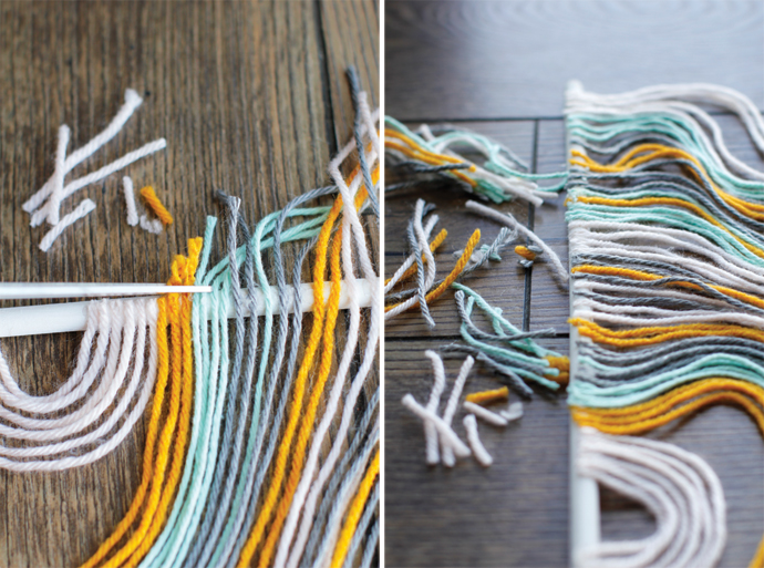 cutting the ends and finishing up the yarn tapestry