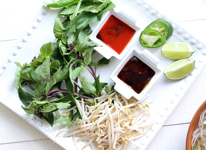Chicken Pho toppings and sauces