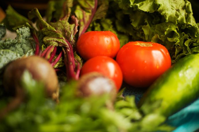 fresh produce for a Farmer's Market Salad