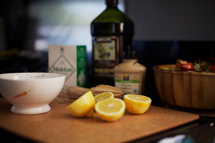 simple vinaigrette ingredients on a cutting board