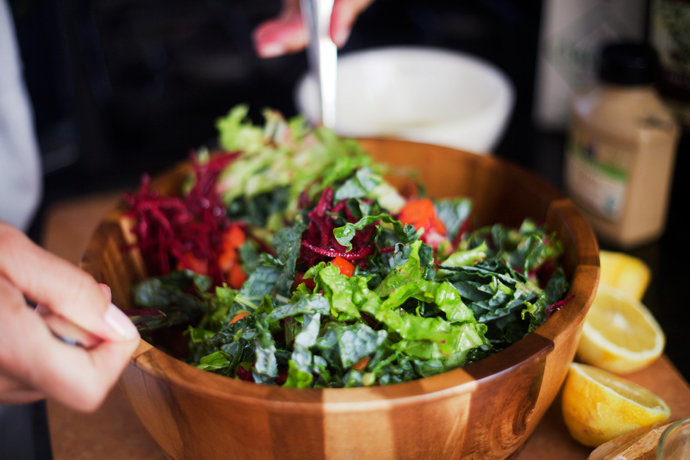 Farmer's Market Salad in a wooden bowl