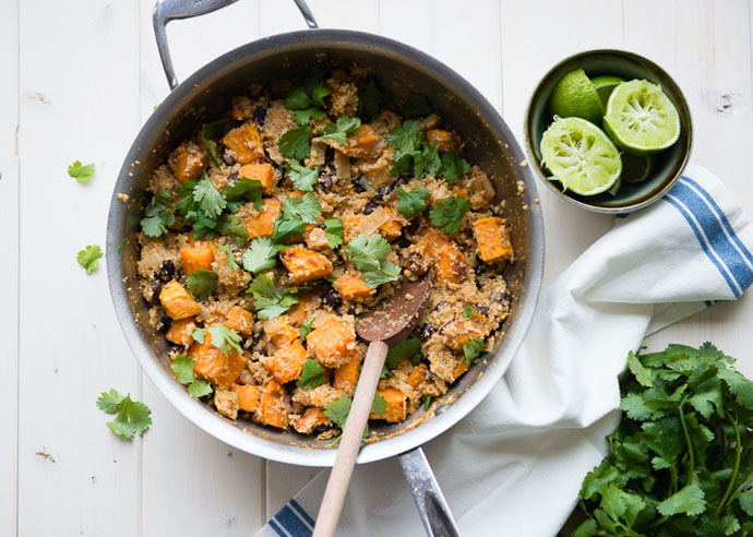 Roasted-Sweet-Potato-Cauliflower-Rice bowls in a skillet