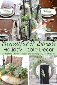 Beautiful and Simple holiday table decor pinterest image