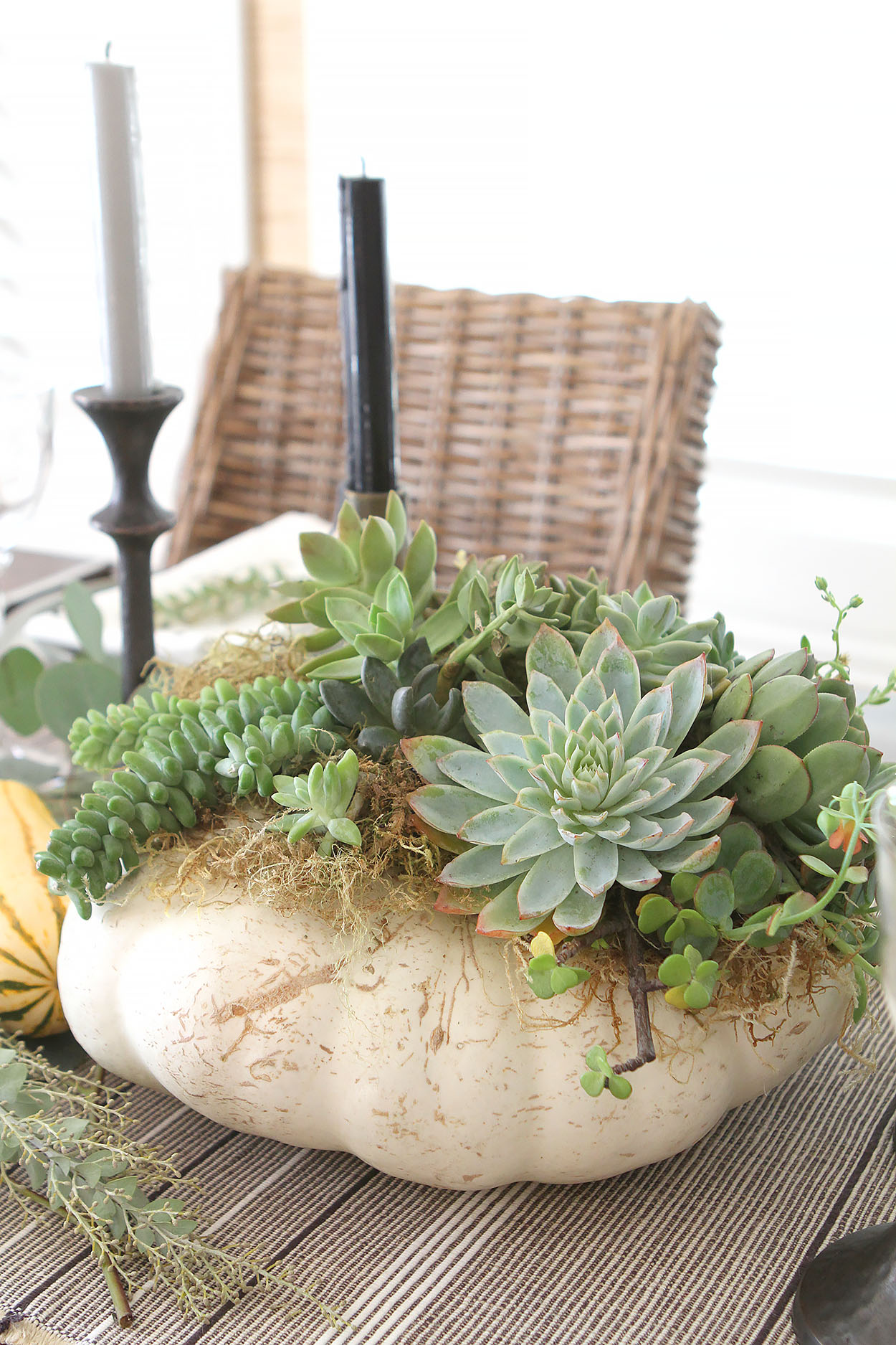 a white pumpkin centerpiece filled with succulents