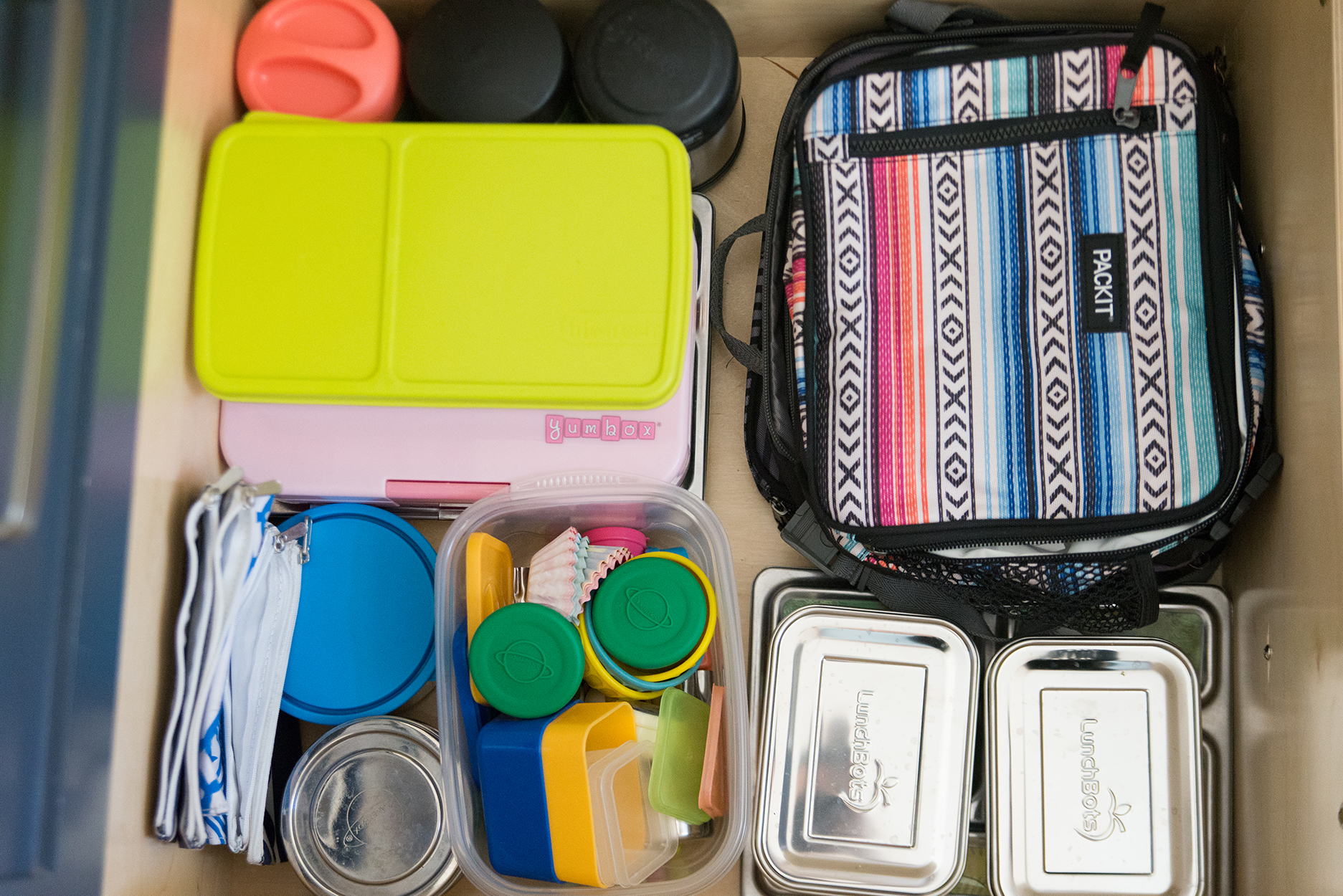 drawer full of lunch supplies and containers