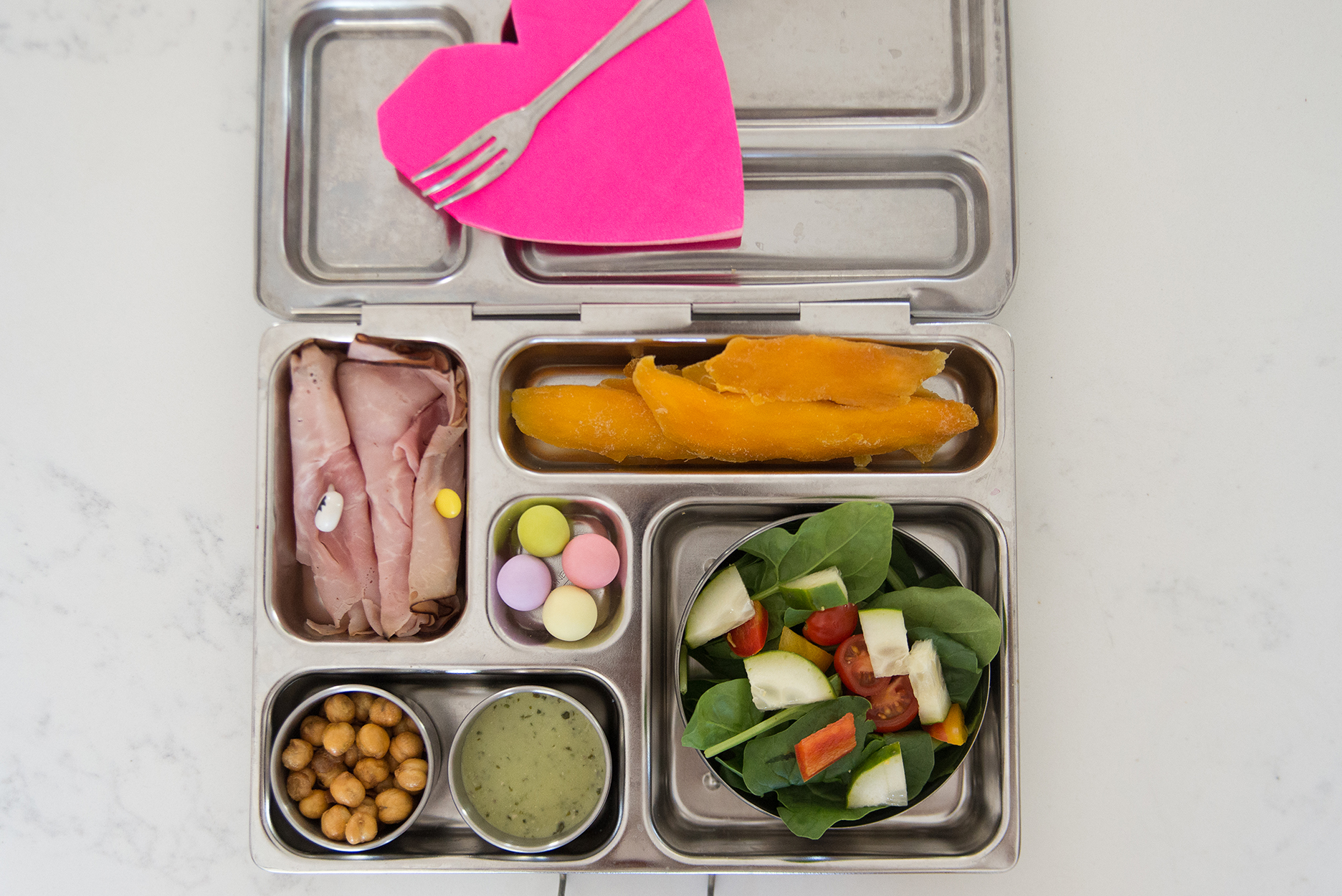 kids lunch in a stainless steel bento box
