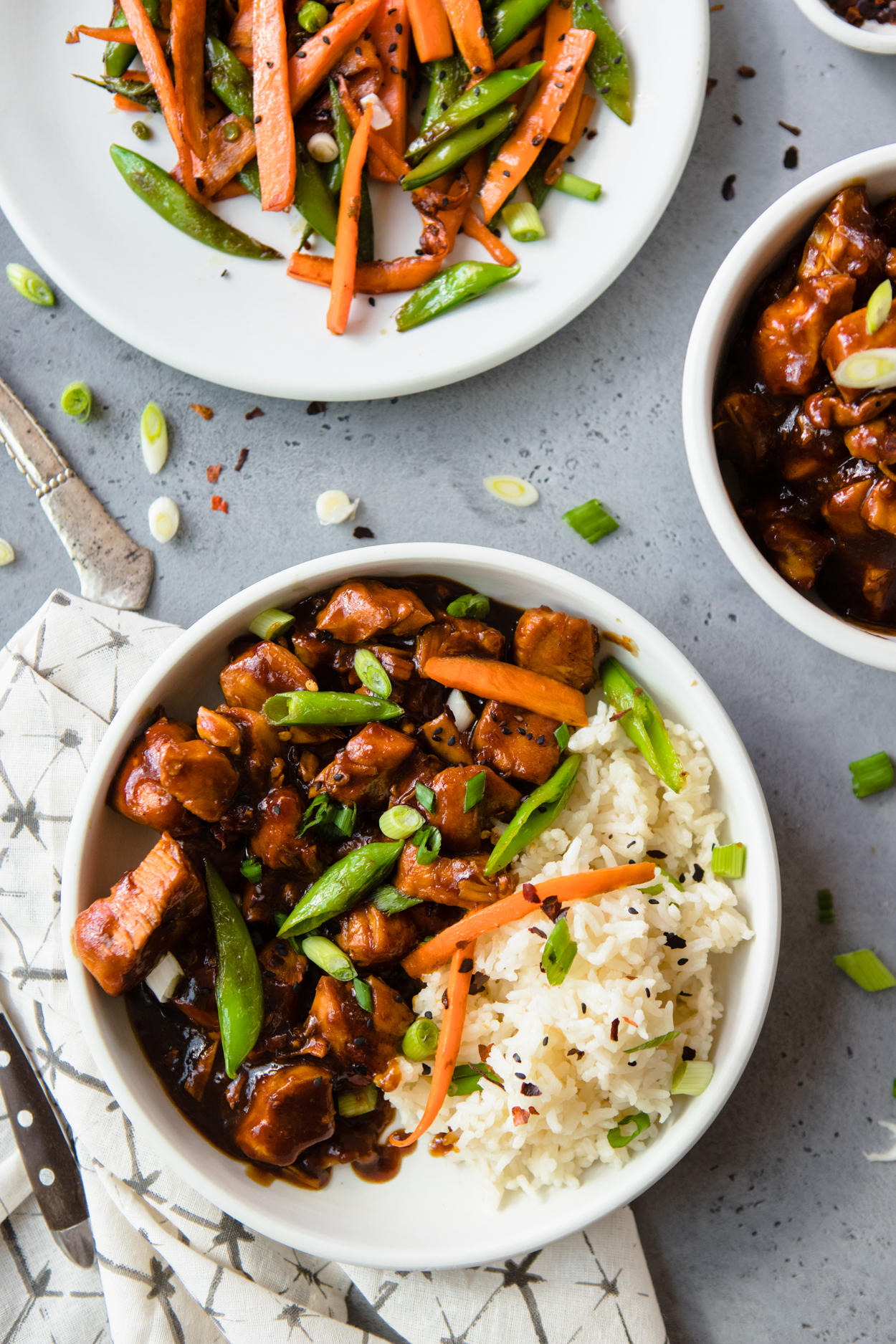 Instant Pot General Tso's Chicken with rice in a white bowl