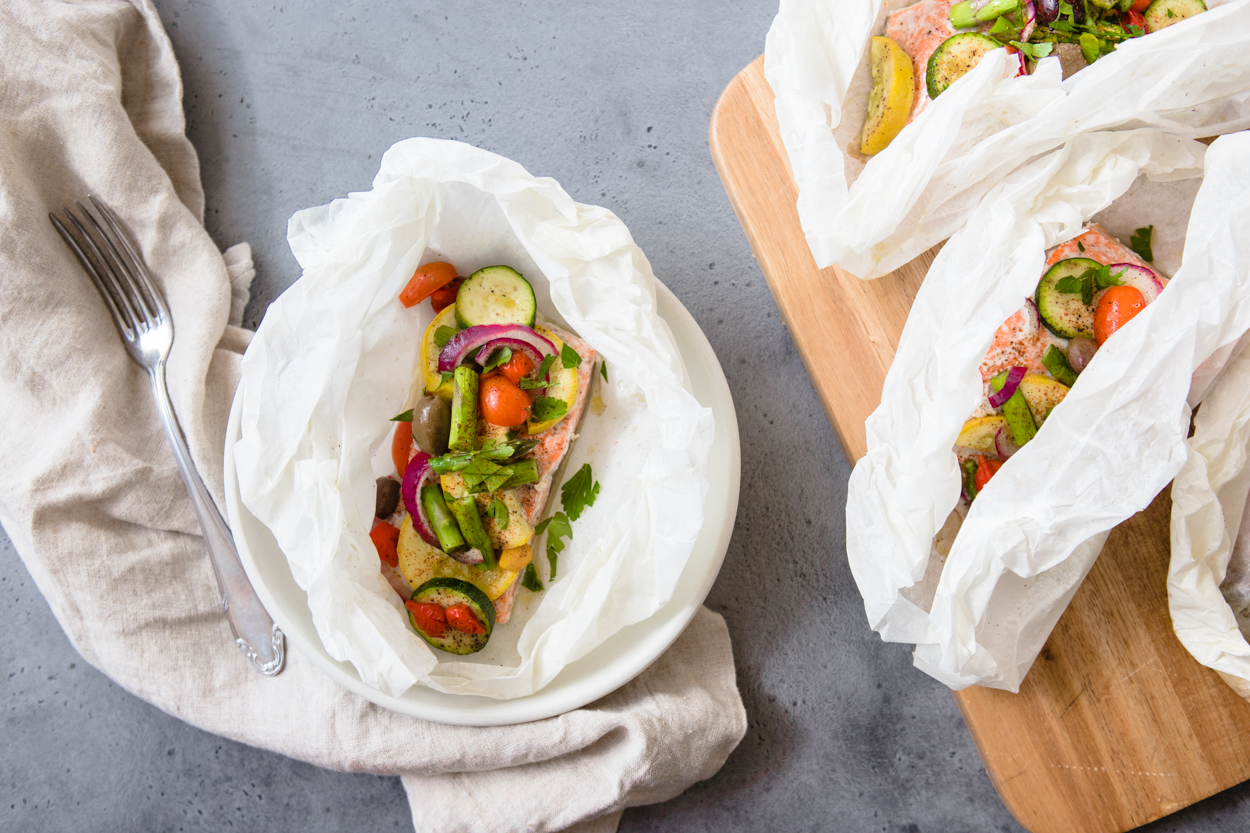 baked salmon in parchment paper with veggies