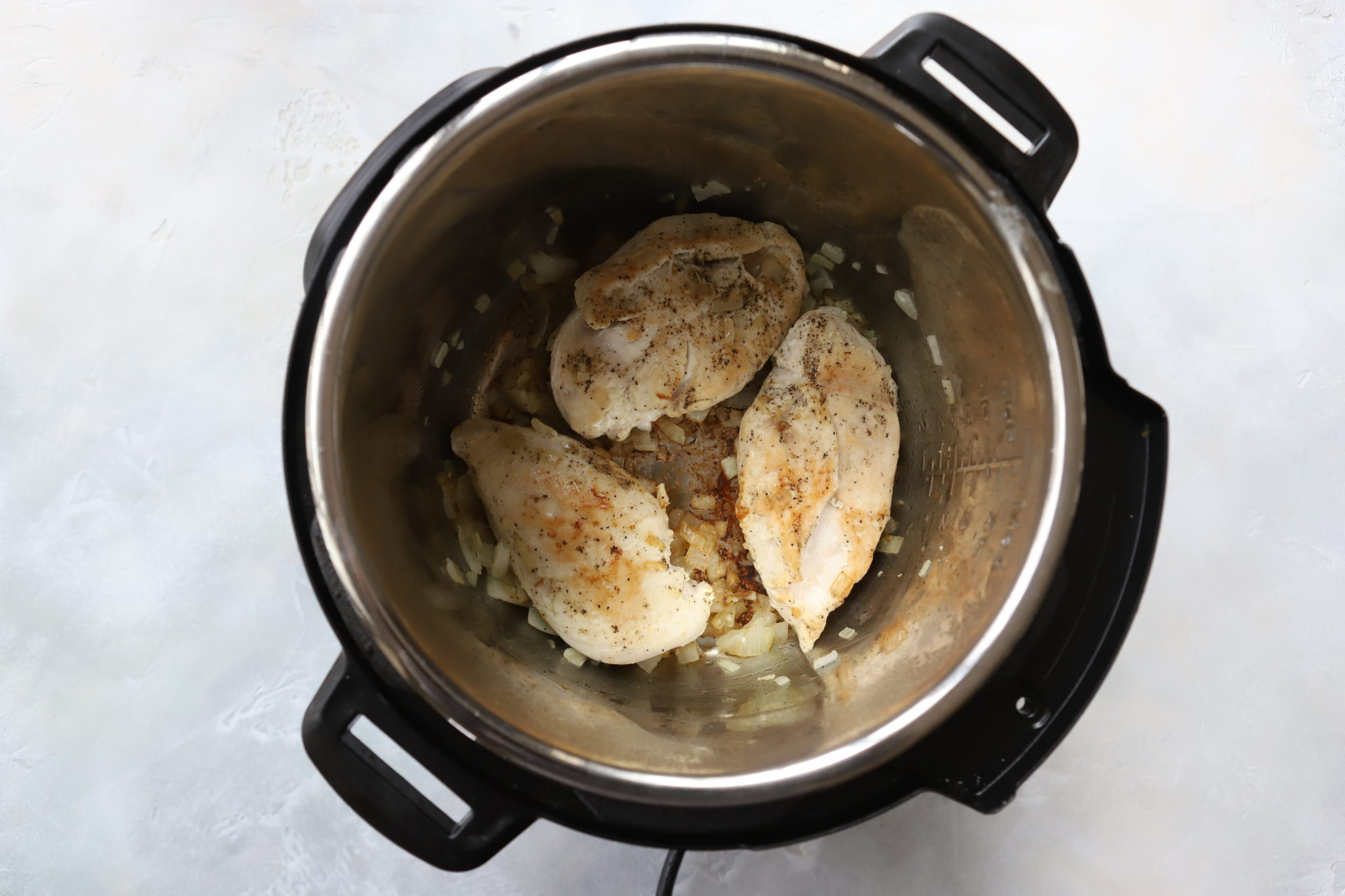 Chicken cooked in the Instant Pot for instant pot chicken alfredo pasta