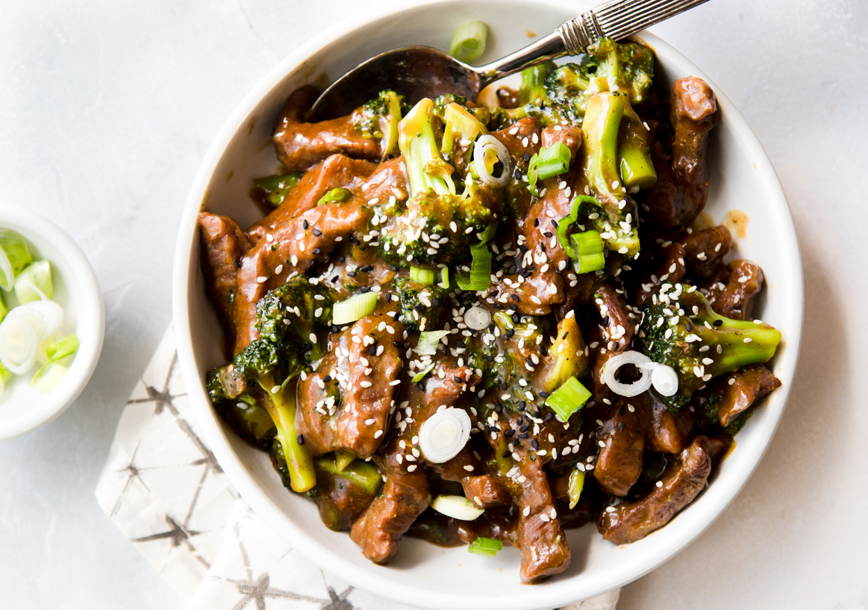Chinese Beef and Broccoli made in the Instant Pot in a bowl over rice