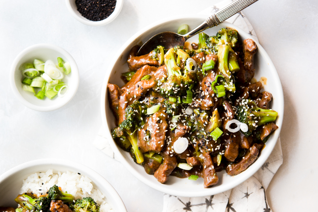 serving bowl full of Instant Pot beef and broccoli