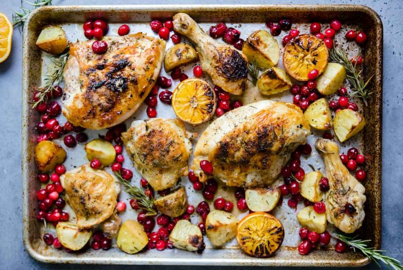 Sheet Pan Cranberry Chicken and Potatoes