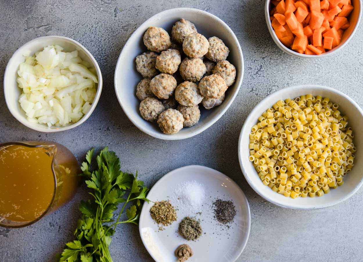 meatball and pasta instant pot soup ingredients