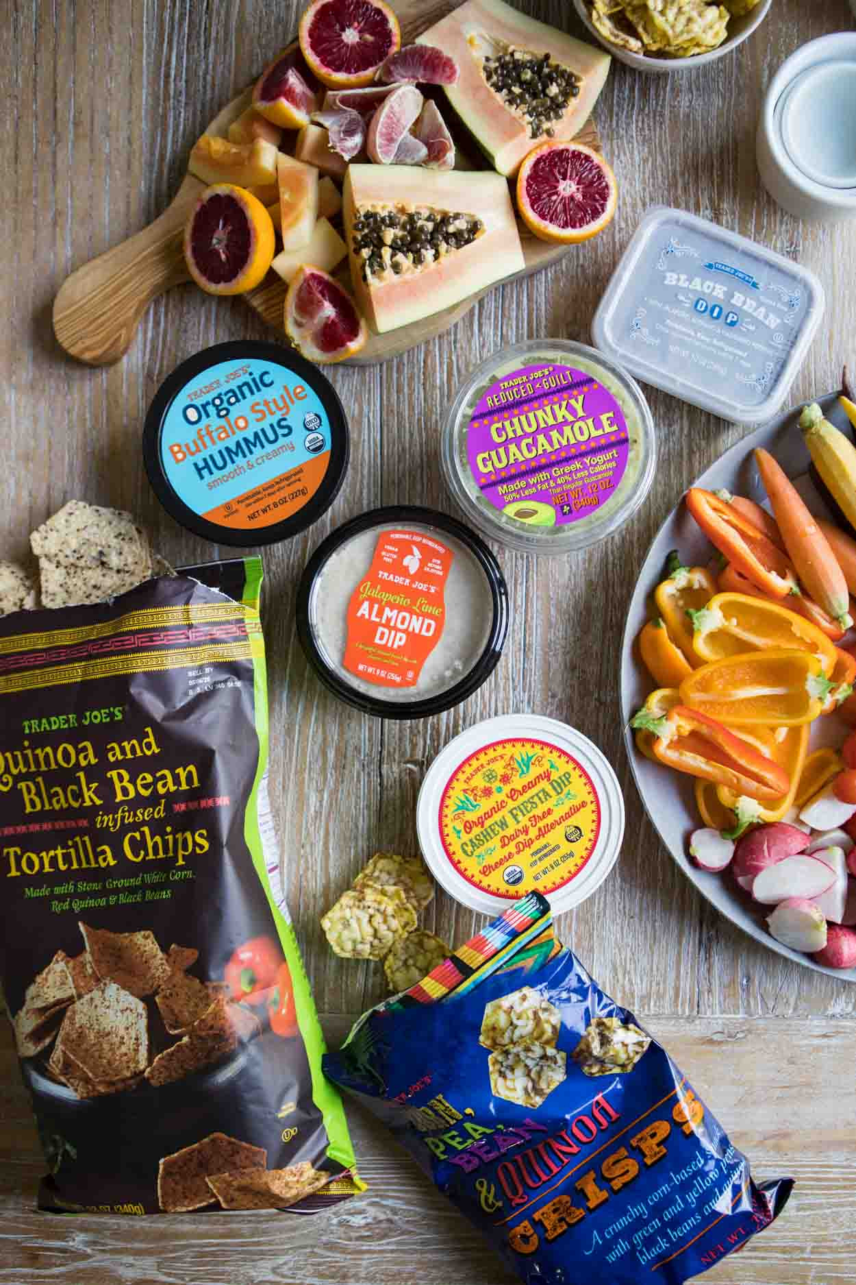 Trader Joe's dips and chips for charcuterie or crudite board