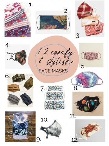12 unique cloth face masks on a white background