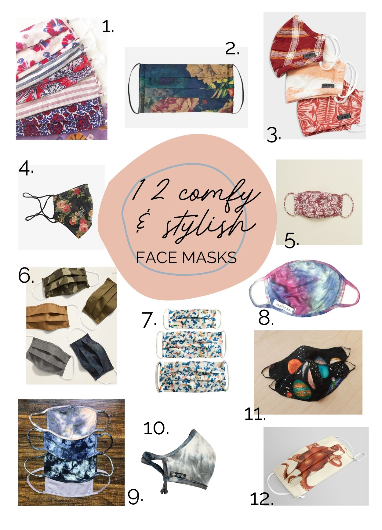 12 unique cloth face masks on a white background