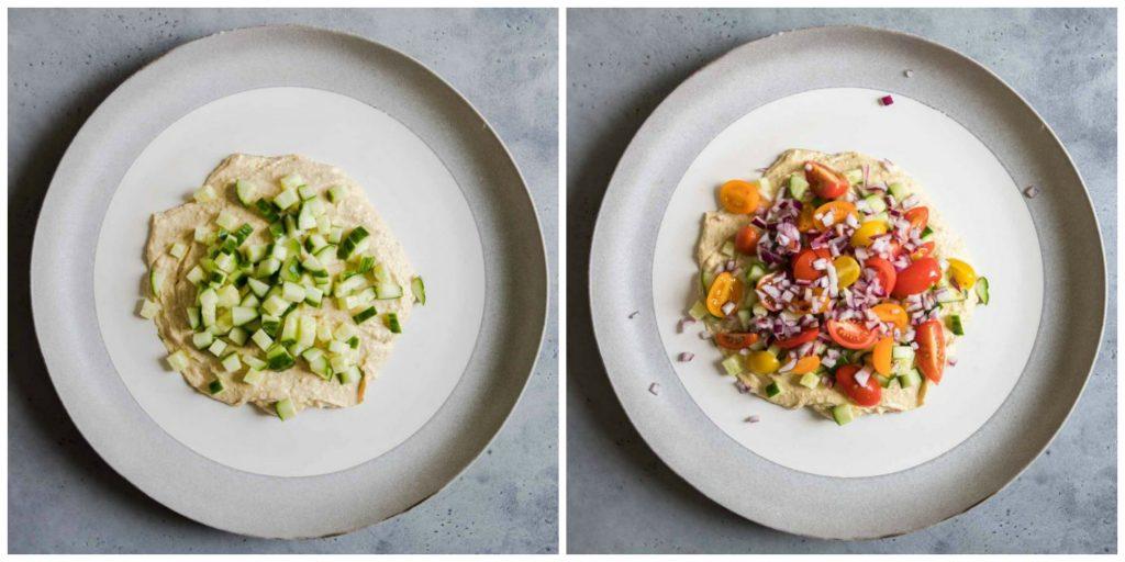 diced veggies on top of hummus