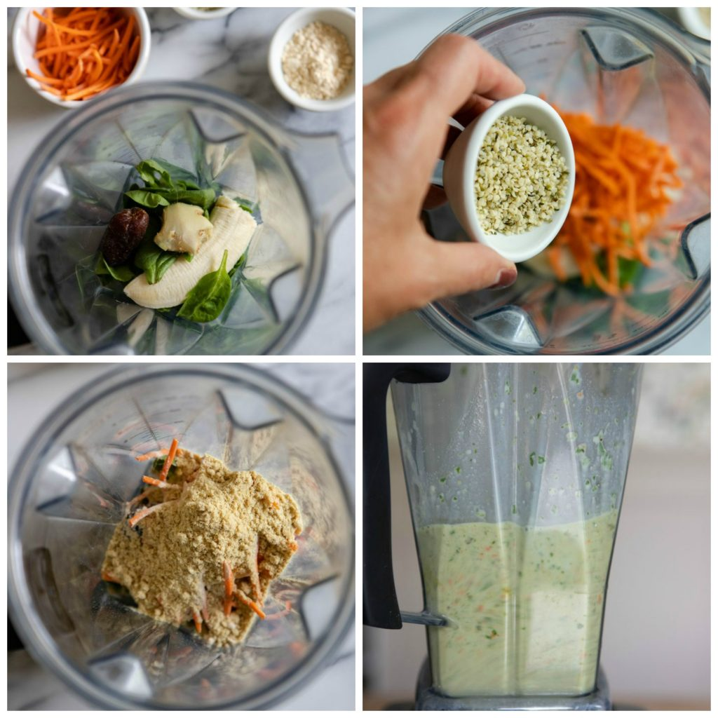 step by step photos of assembling the carrot ginger smoothie in the blender