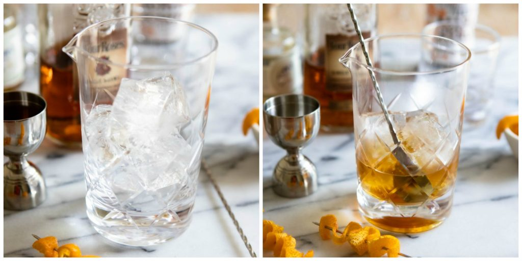 ice in a cocktail shaker and whiskey stirred in