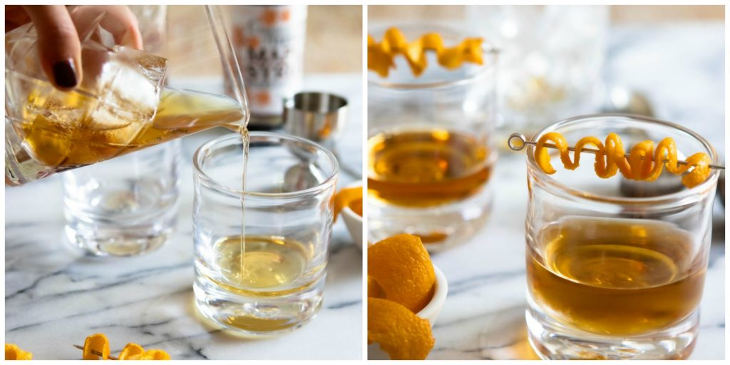 whiskey poured into glass and orange peel garnish added to top