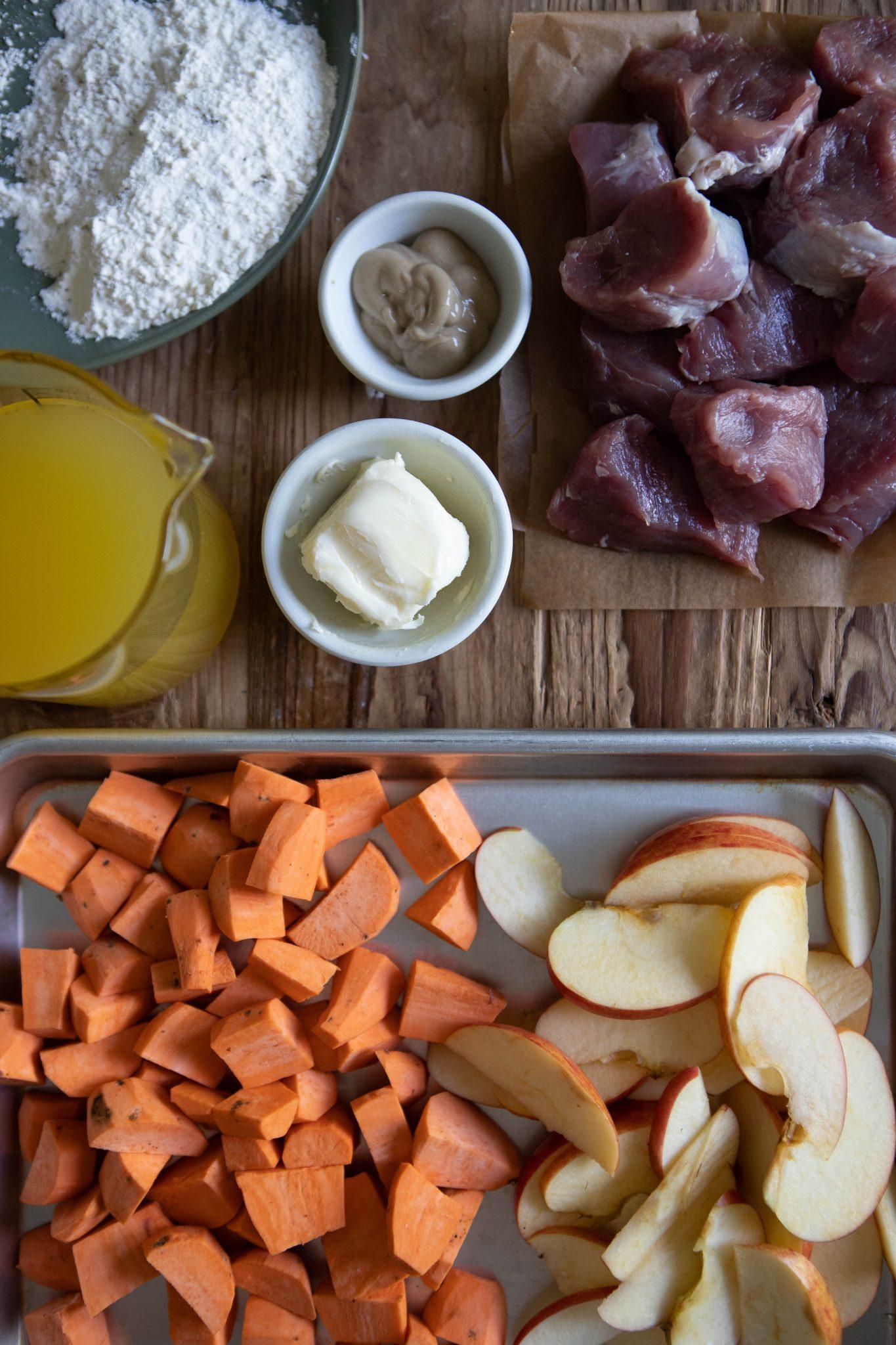 healthy pork tenderloin ingredients on a wooden board