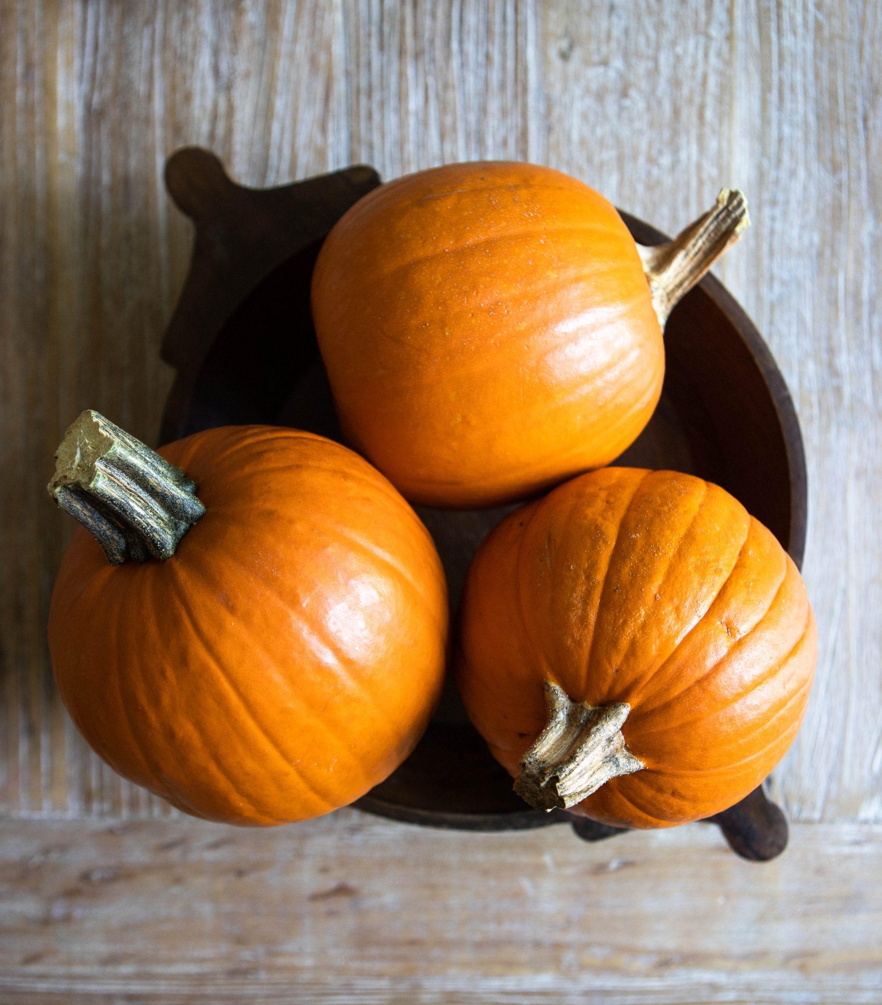 3 orange pumpkin pie pumpkins in a wooden bowl