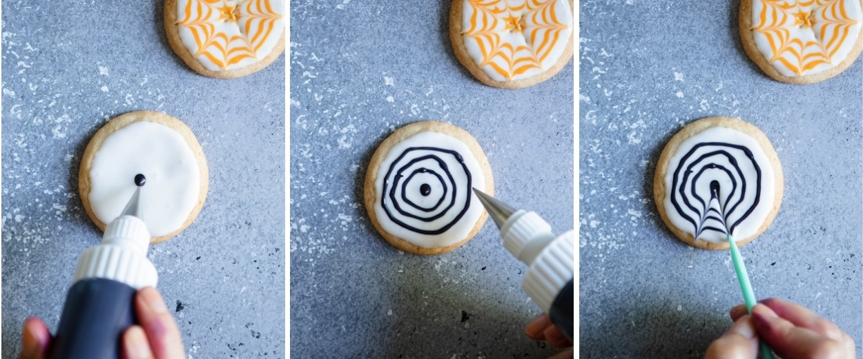 step by step directions to show how to decorate Halloween cookies with spider webs on royal icing