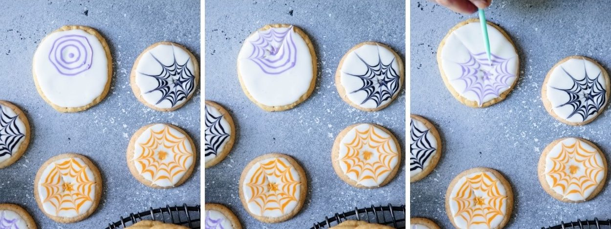 instructions on how to decorate Halloween cookies with royal icing and spider webs, on a gray background