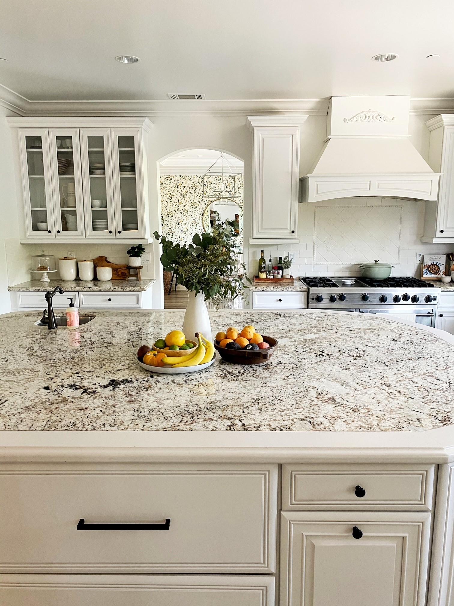 kitchen with white backsplash
