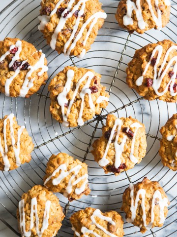 vintage French cooling rack filled with oatmeal cranberry cookies