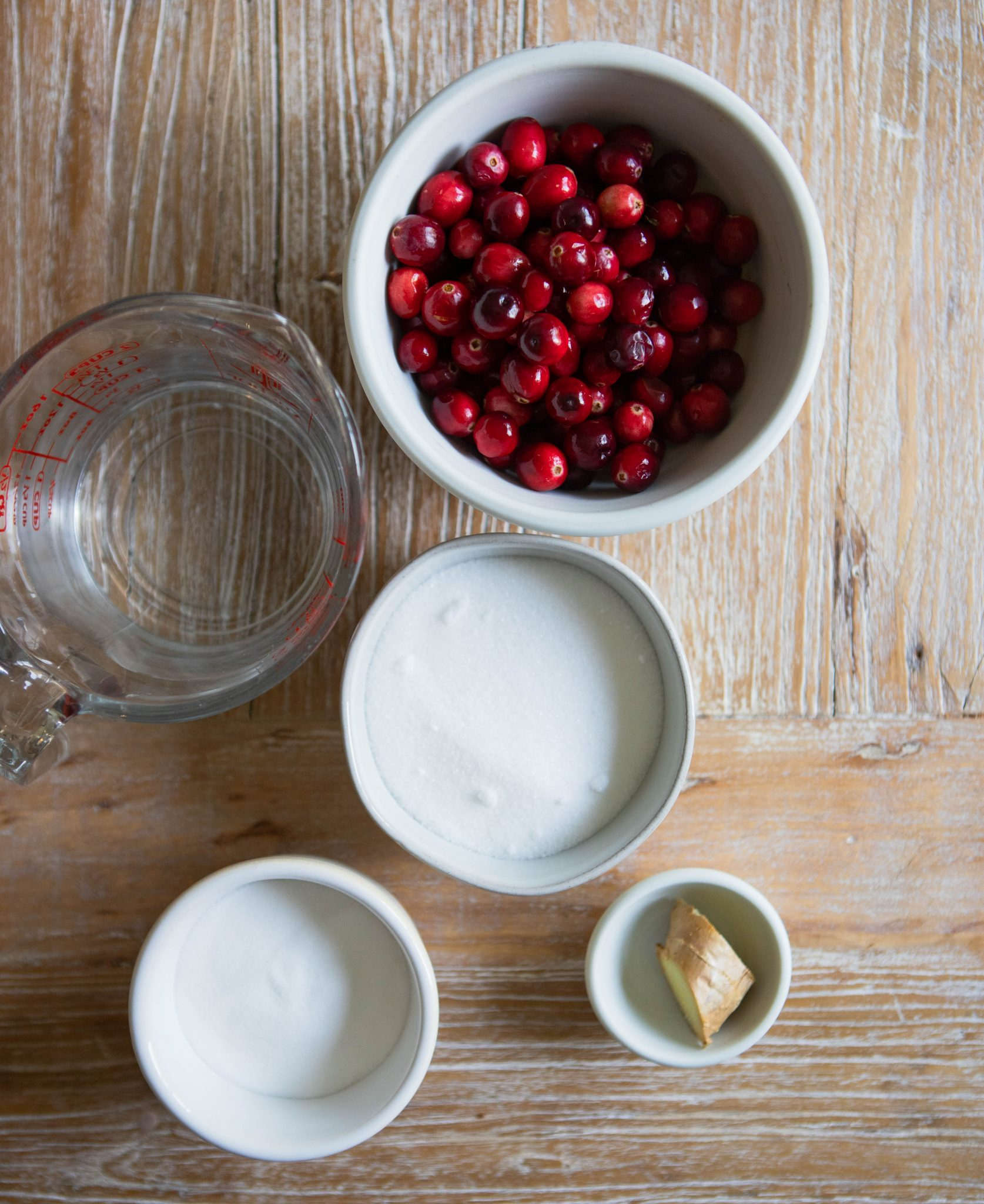 ingredients for sugared cranberries