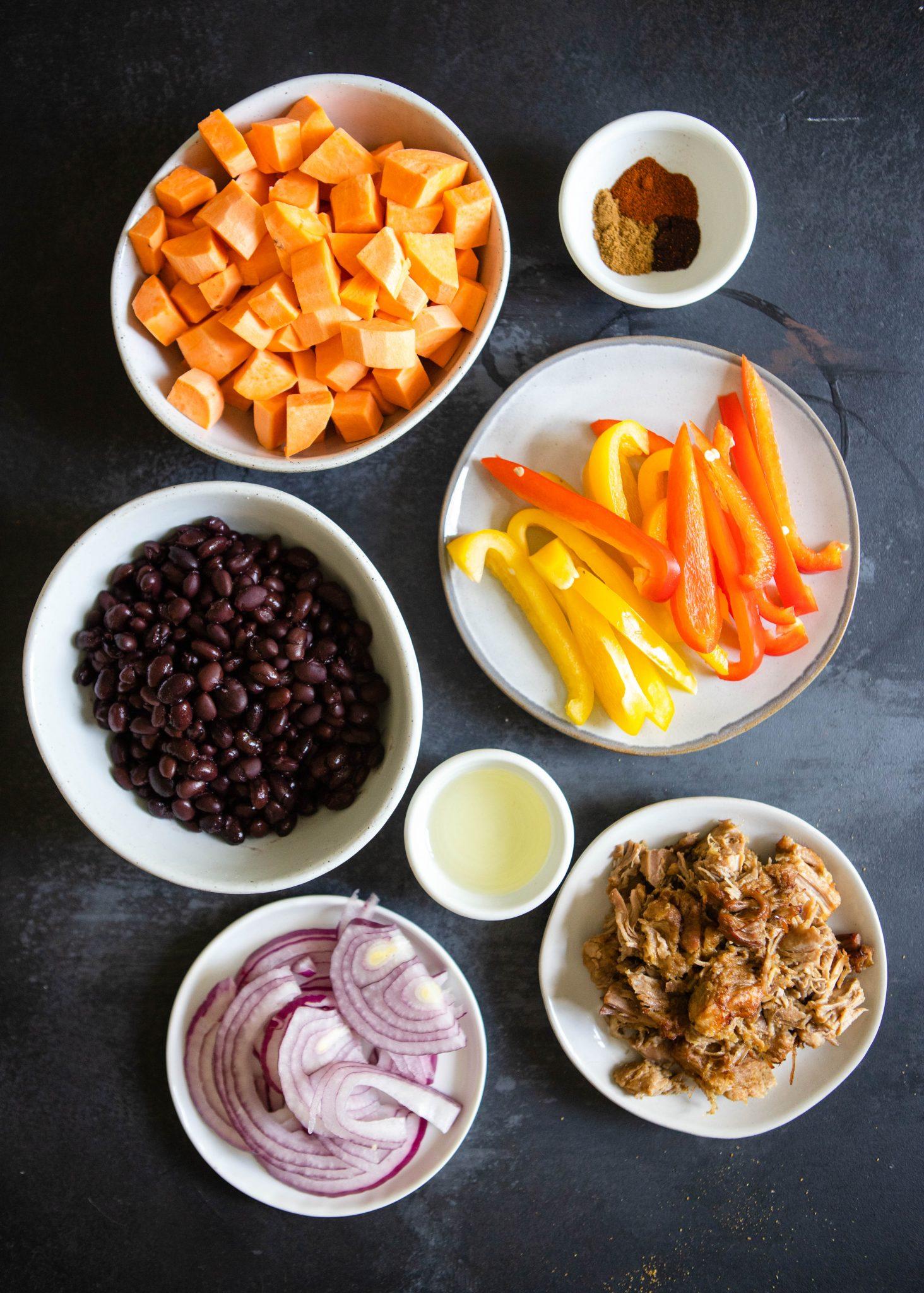 ingredients to make carnitas bowl
