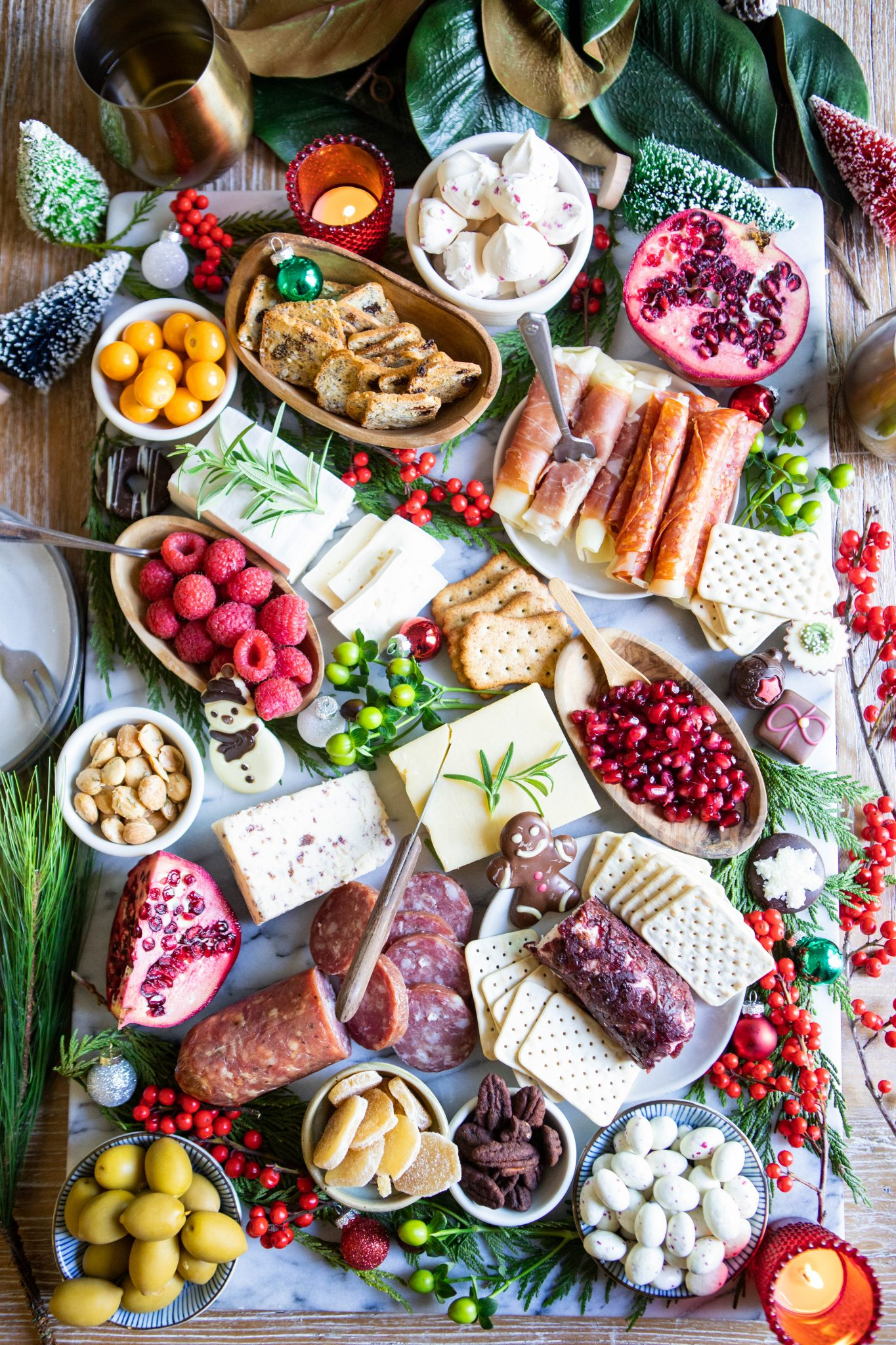Holiday inspired cheese and cracker snack board