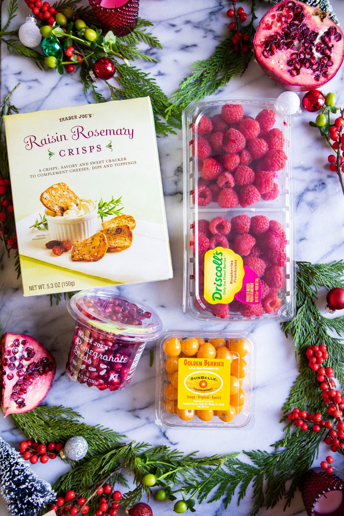 Berries, Trader Joe's crackers and other snacks