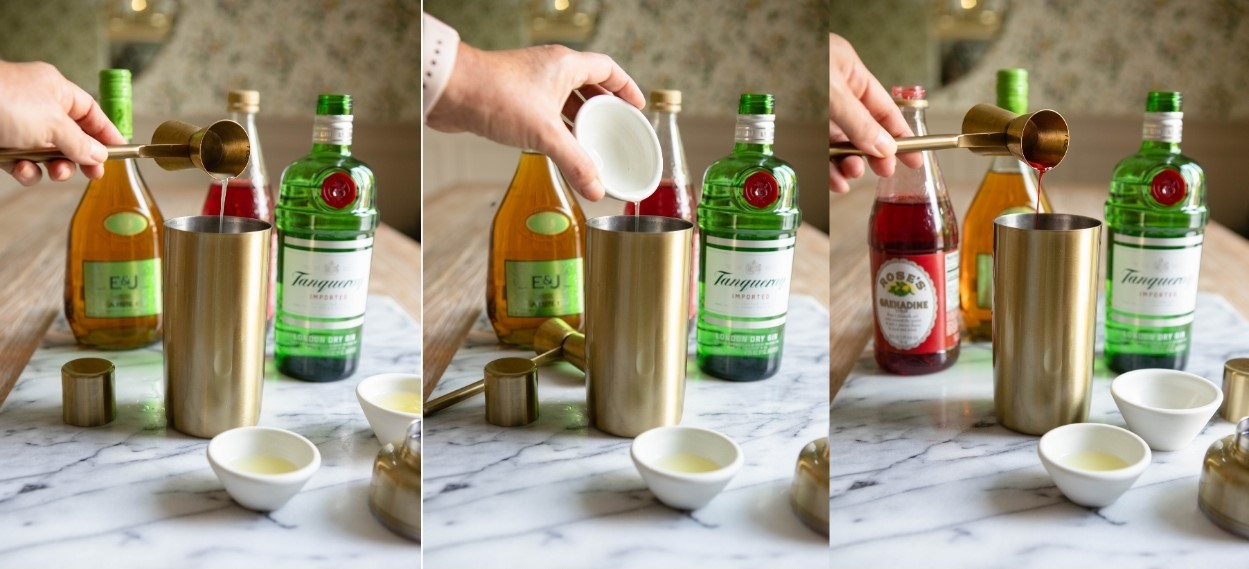 collage of ingredients being poured into a gold cocktail shaker