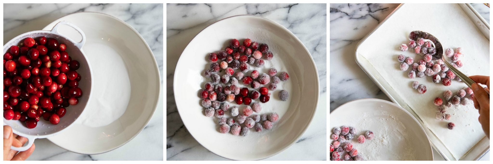 cranberries being rolled in sugar