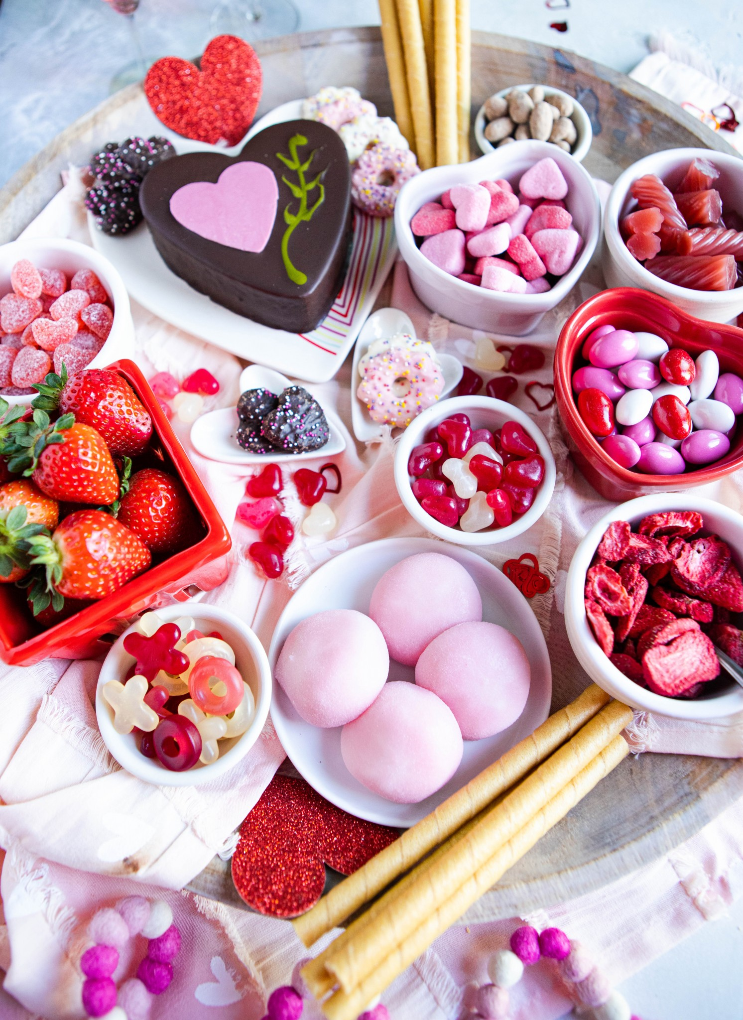 Valentine's day themed dessert charcuterie board