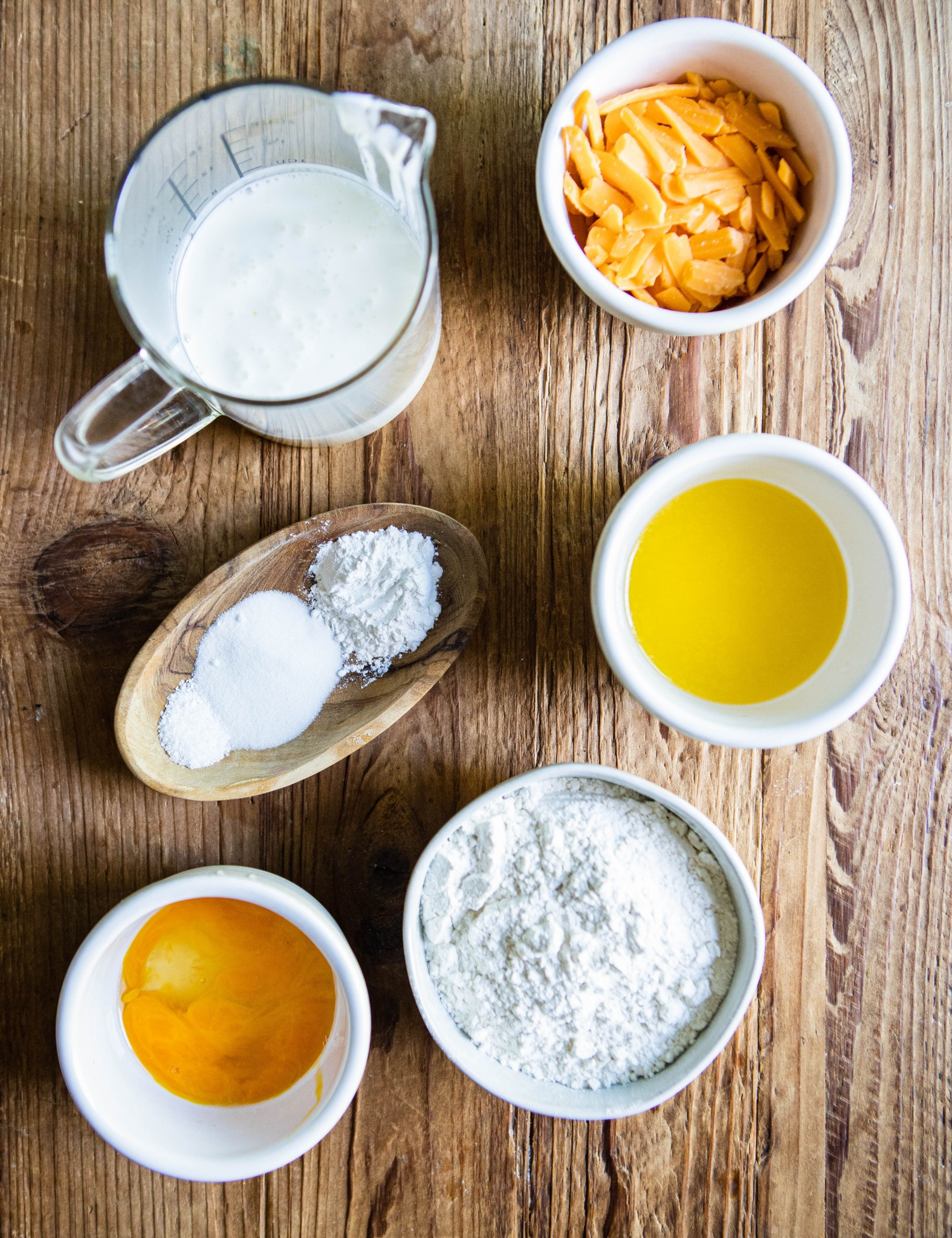 ingredients to make cheddar and buttermilk Belgian waffles
