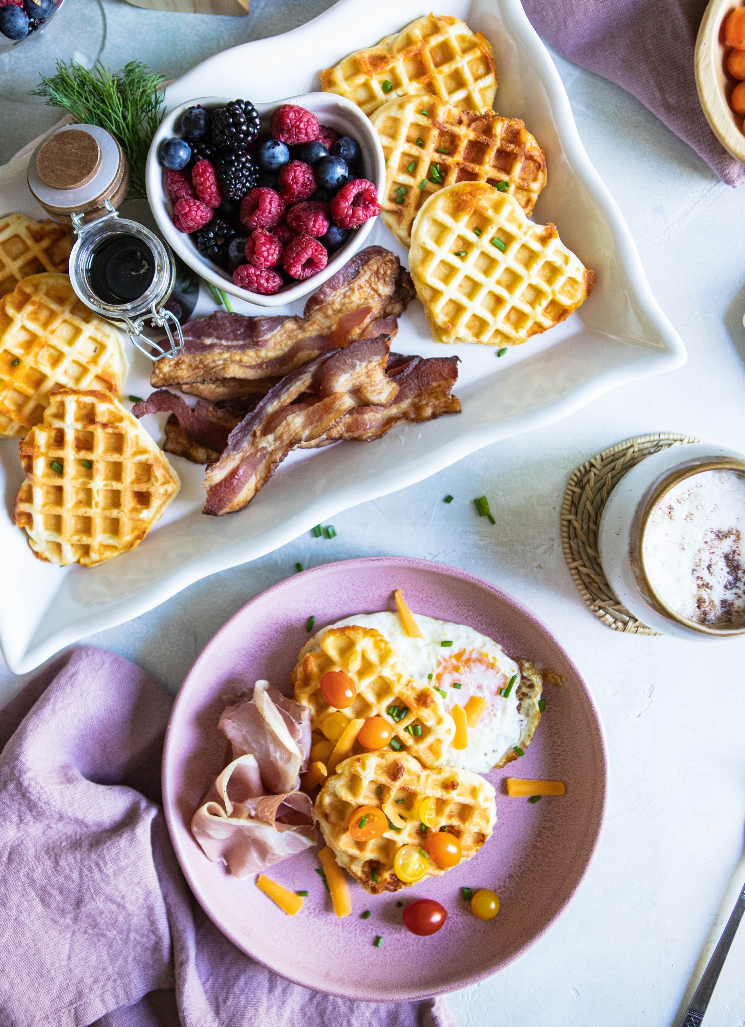 heart shaped savory waffle recipe toppings and ingredients