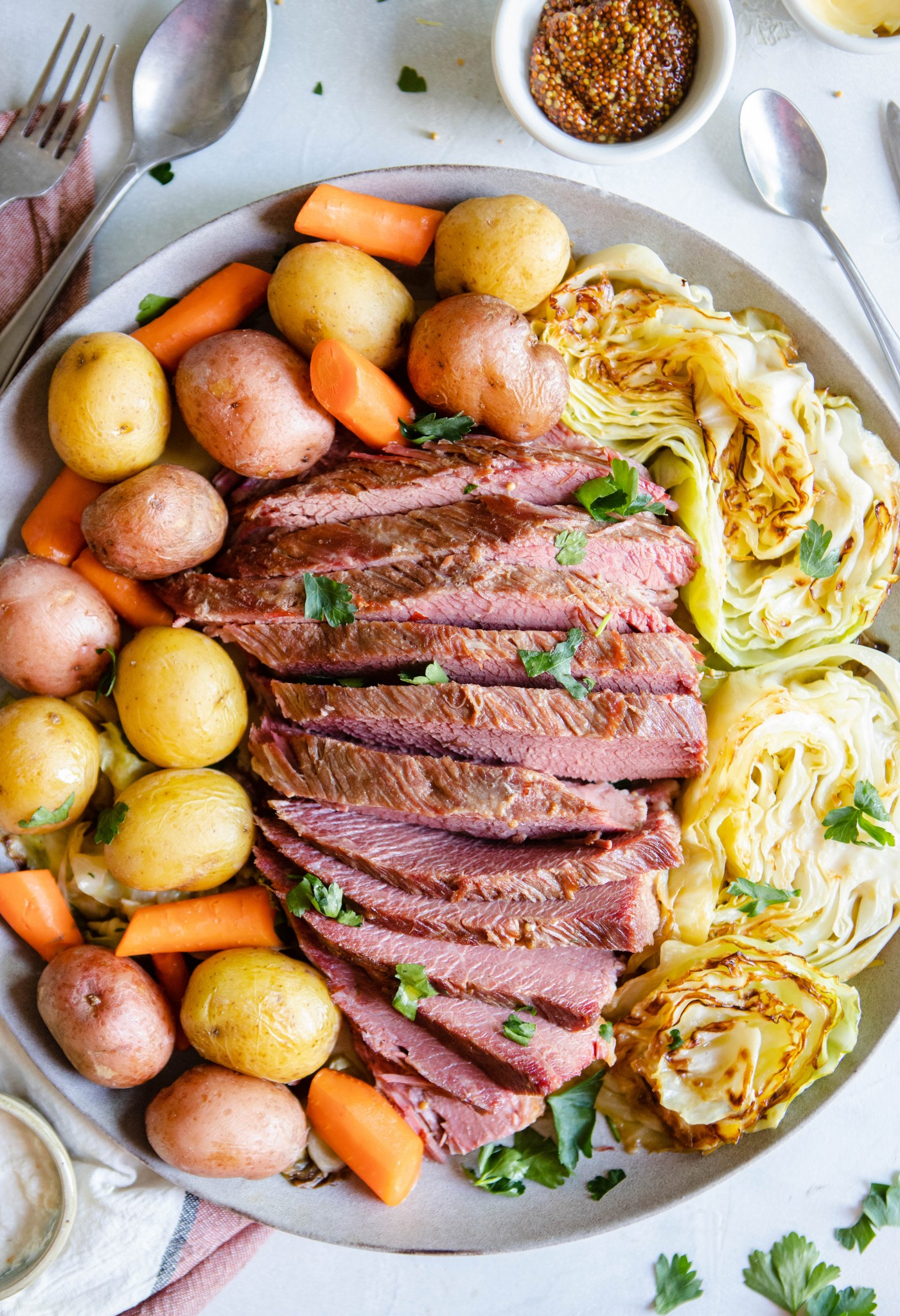 beef brisket sliced with potatoes and cabbage