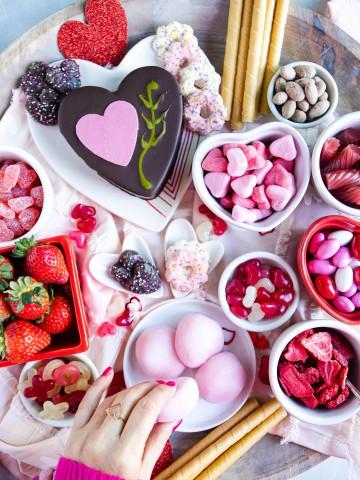 dessert board set for Valentine's Day