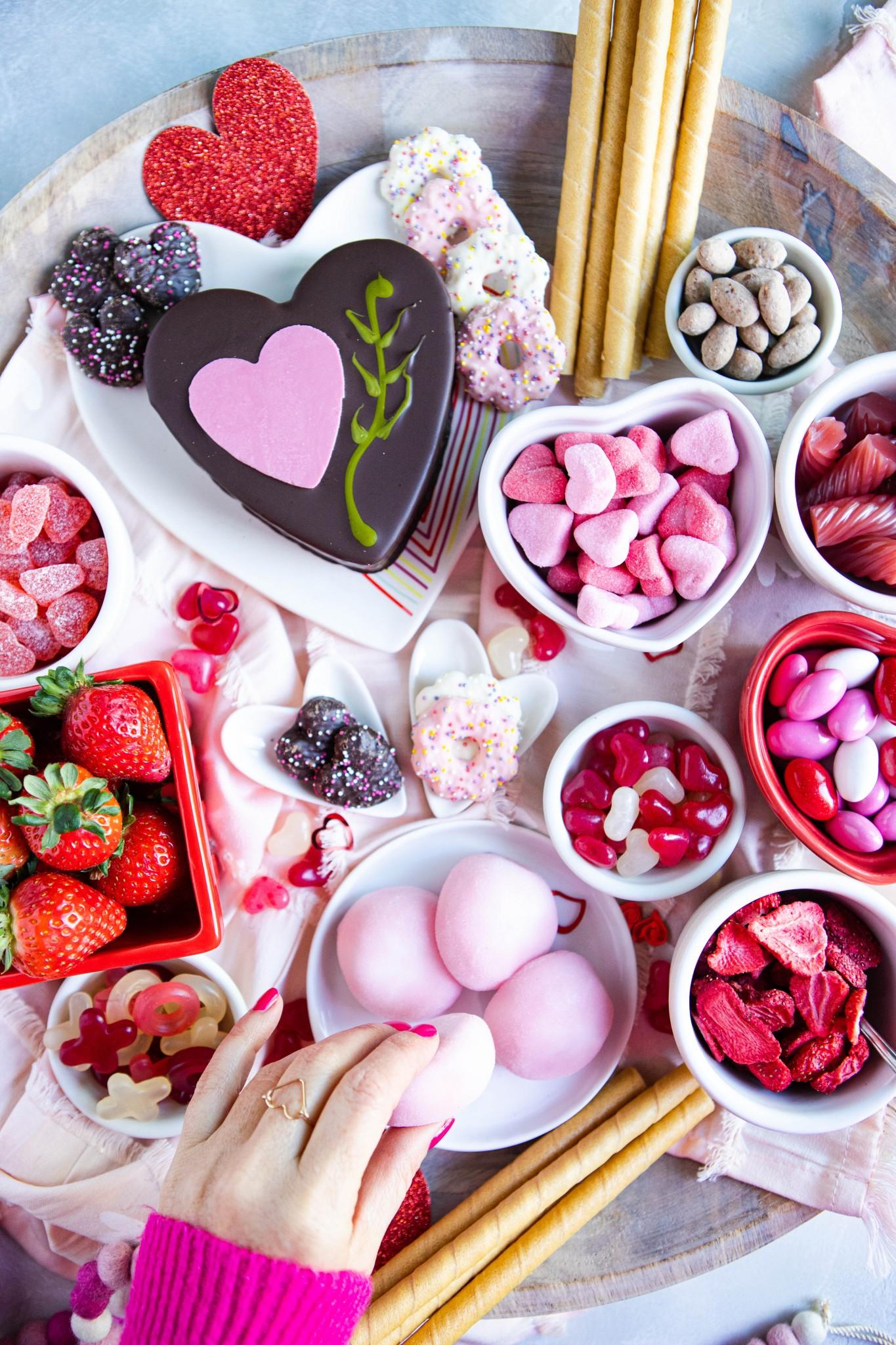 dessert charcuterie board set for Valentine's Day