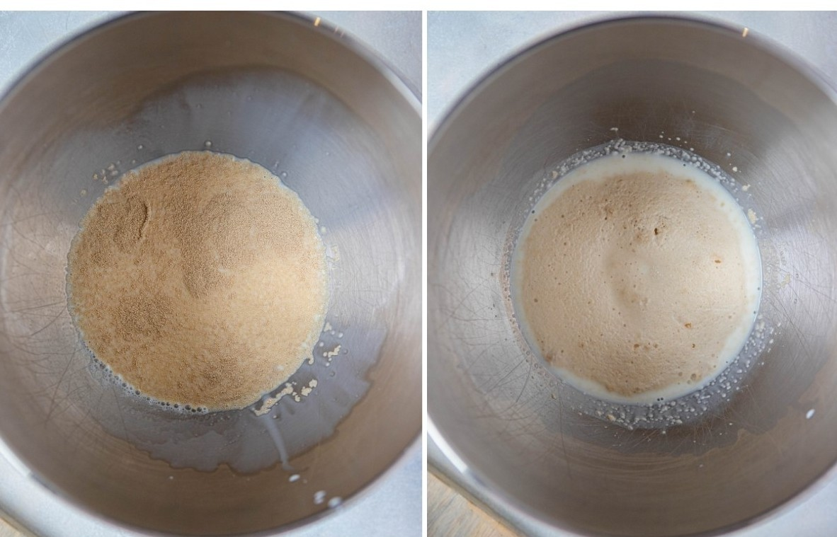 yeast in warm water in a mixing bowl