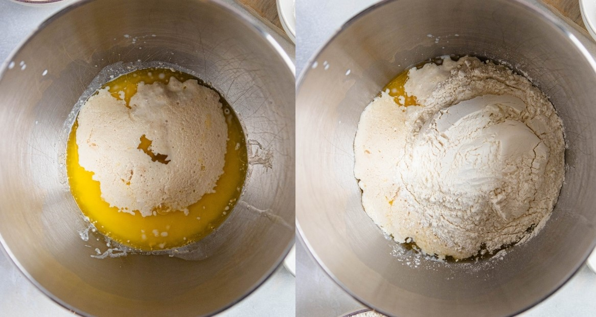 melted butter and flour mixed into homemade recipe for donuts in air fryer