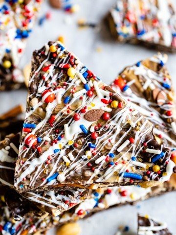 football themed sprinkles on top of bark for Super Bowl desserts ideas