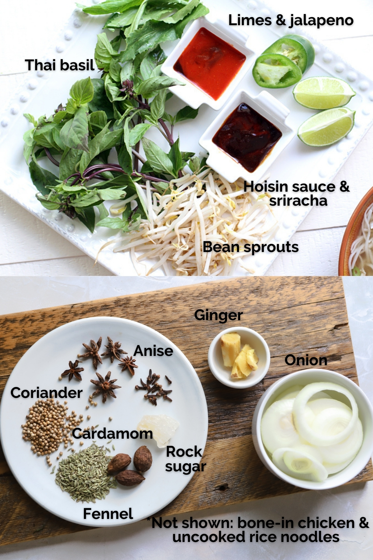 ingredients on a white plate and wood board to make pho ga